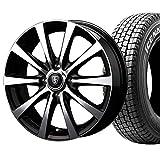 【2017年製】国産スタッドレスタイヤ(145R12 6PR)+ホイール(12インチ)4本SET(1台分)■Dセット:マナレイ ユーロスピードBL-10[ブラックポリッシュ]