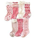 【GLASS FROG】ベビー キッズ 女の子 ハイソックス 7足セット ピンク 可愛い靴下(9-15cm)