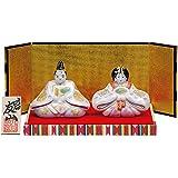 九谷焼 陶器 雛人形 金銀釉彩(台 金屏風 立札付) 初節句お祝い ひな人形 お雛様 ひな祭り