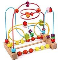 KIDDERY TOYS ビーズ迷路 教育玩具 幼児&子供用 - 明るい色のビーズローラーコースター & 数字 数字 おもちゃ - ASTM承認 安全な木製ビーズ迷路 男の子と女の子用 - 学習玩具