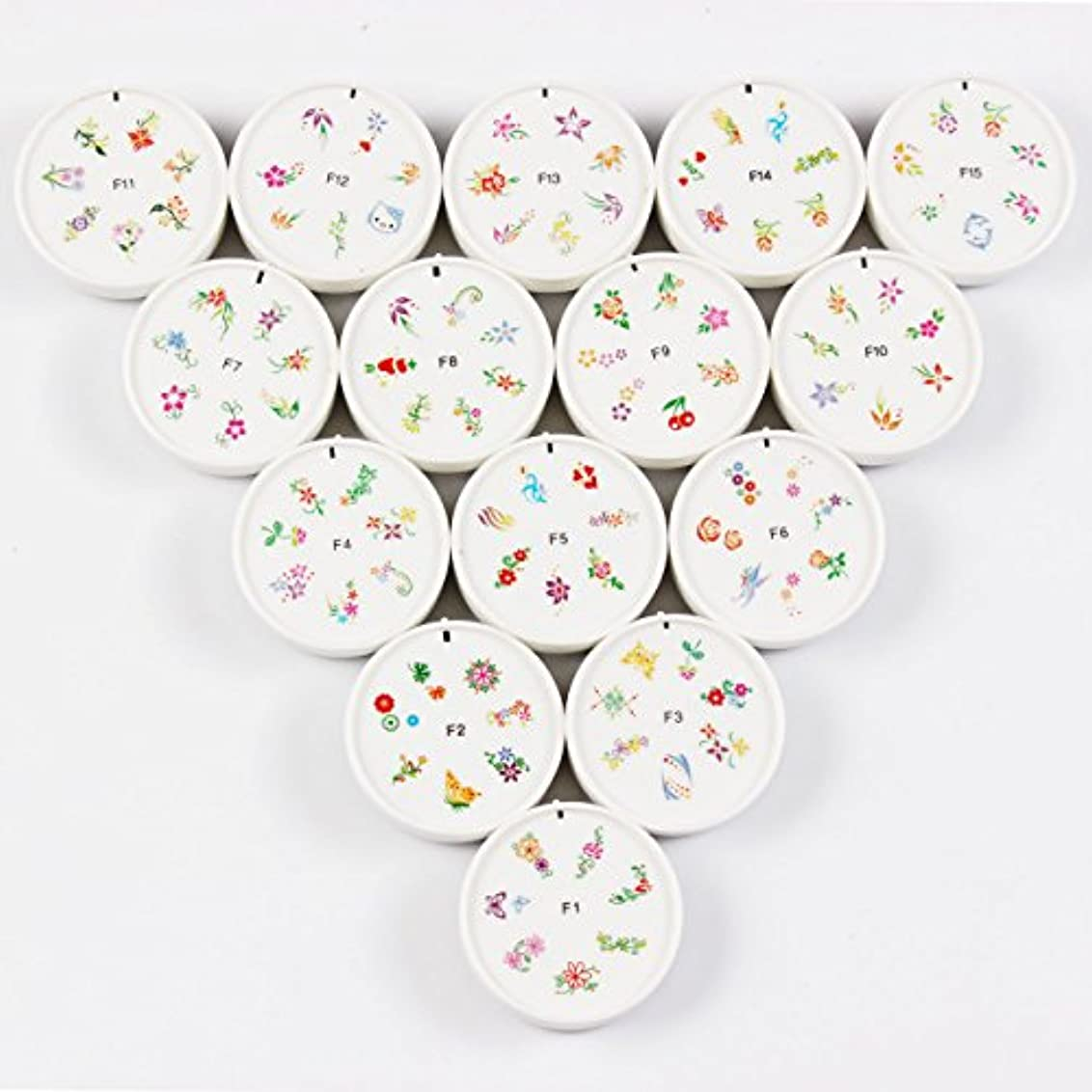 ひどく構成員句FingerAngel ネイルイスタンプセット 15枚 ホワイト ネイルスタンパー ゴム プラスチック ネイルアート