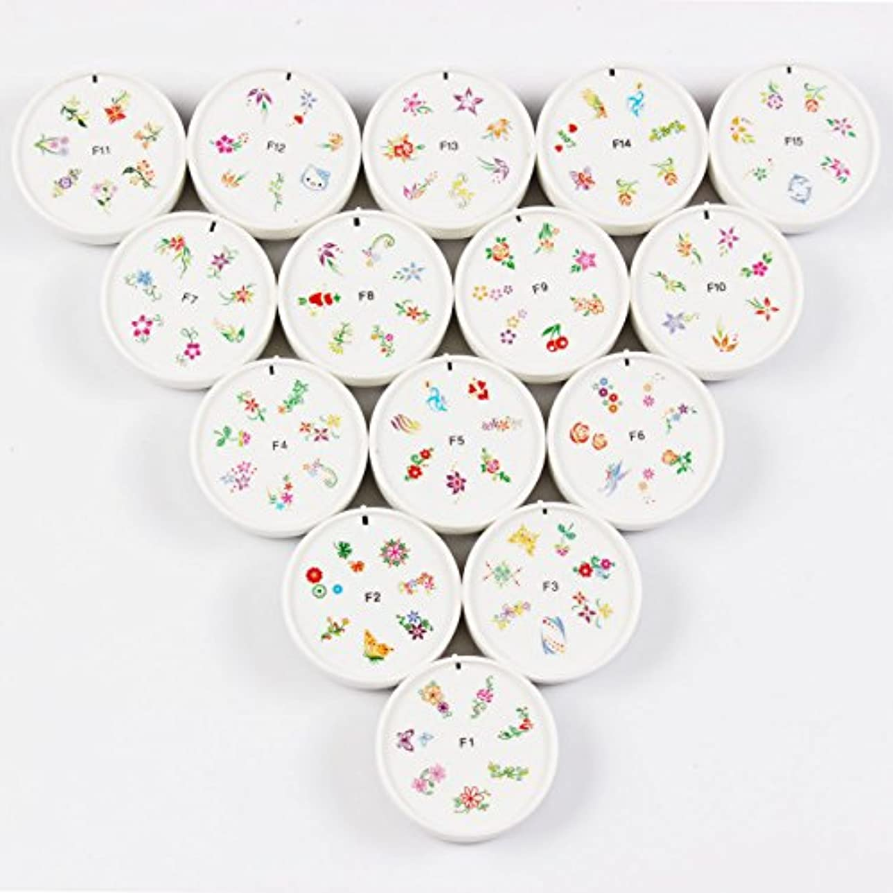 分析するアテンダント美容師FingerAngel ネイルイスタンプセット 15枚 ホワイト ネイルスタンパー ゴム プラスチック ネイルアート