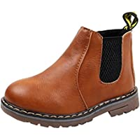 DADAWEN Boy's Girl's Waterproof Side Zipper Short Ankle Winter Snow Boots