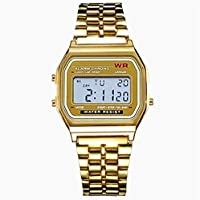 EDTara Unisex Concise Alloy Strap Multifunction Electronic Watch with LED Outdoor Sports Wristwatch Gold Shell - Gold Surface
