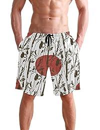 VAWA 水着 メンズ サーフパンツ おしゃれ ビーチパンツ 海水パンツ 短パン 吸汗速乾 大きいサイズ 水陸両用 和風 和柄 太陽柄