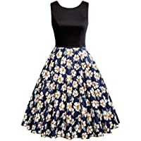 GRACE KARIN Sleeveless Crew Neck Patchwork Vintage Dress