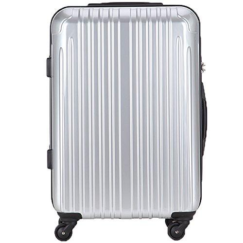 TY001中型(ラッキーパンダ) Luckypanda スーツケース 超軽量 中型 TSAロック 2年修理保証 ファスナータイプ TY001 m ハード 旅行用 キャリーバッグ キャリーケース トラベルバック 旅行かばん 軽量 Suitcase Luggage (Mサイズ(4~6日の旅行向け), シルバー)