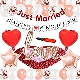結婚式セットデコレーション 飾り付け 結婚式 結婚のバナー love風船 ハート風船 ローズゴールド紙吹雪 バラの花びら 绢布 ローズゴールド 空気入れ