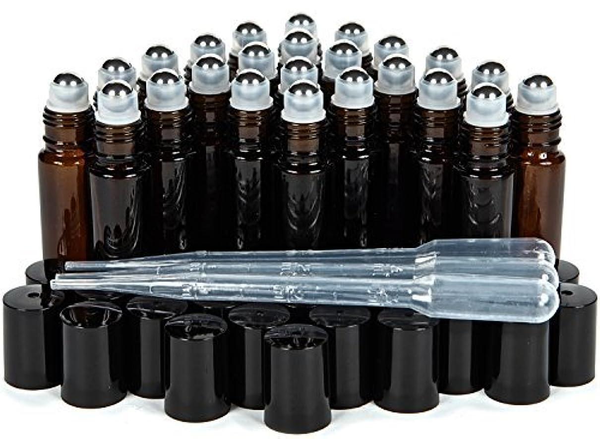 労苦ズボン拒否Vivaplex, 24, Amber, 10 ml Glass Roll-on Bottles with Stainless Steel Roller Balls. 3-3 ml Droppers included [...