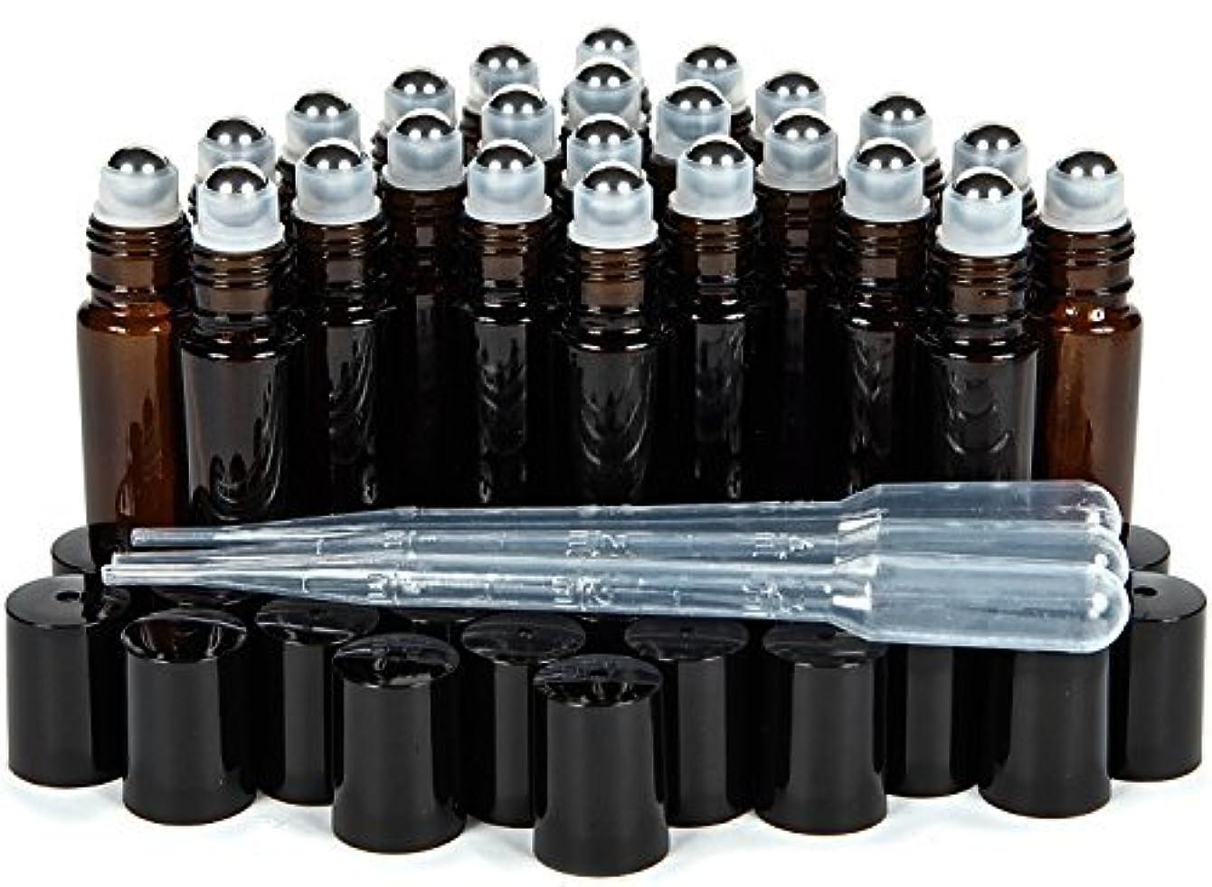正規化楽観中止しますVivaplex, 24, Amber, 10 ml Glass Roll-on Bottles with Stainless Steel Roller Balls. 3-3 ml Droppers included [...