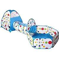 (イークスン) EocuSun 子供用テント セット ボールプール ボールピット 折り畳み式 トンネル バスケットネット 収納バッグ付き (3in 1(青))