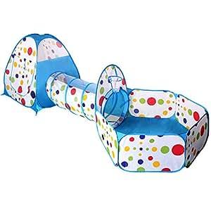 子供用テント EocuSun セット 折り畳み式 トンネル バスケットネット 収納バッグ付き 秘密基地 お誕生日 出産祝いのプレゼント (水色)