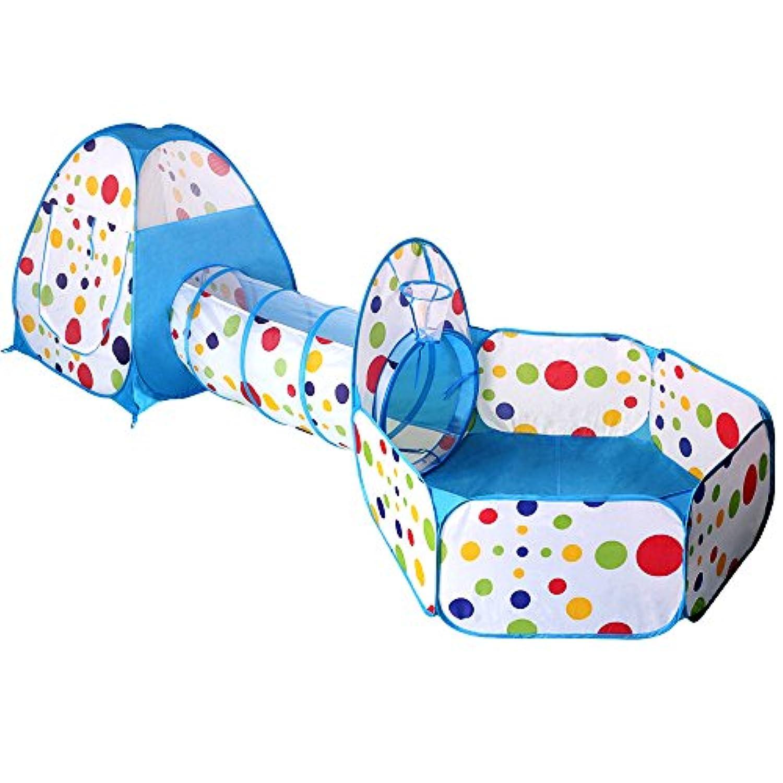 子供用テント EocuSun セット 折り畳み式 トンネル バスケットネット 収納バッグ付き 改良版 秘密基地 お誕生日 出産祝いのプレゼント (水色)