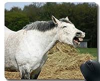 天然ゴムマウスパッド、ステッチボーダーの白い馬農場の馬