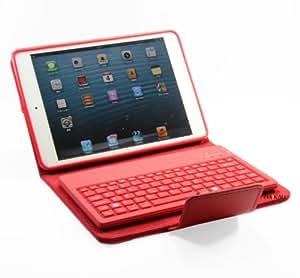 【HAIKAU】 iPad mini Bluetooth シリコンキーボード内蔵ソフトレザーケース【英語キーボード】 日本語操作説明書付き レッド