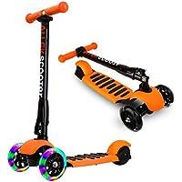 ALLEK キッズ スクーター 3輪 キックスクーター 子供 キックボード LED 光るホイール 3段階調整可能 後輪ブレーキ 折りたたみ式(オレンジ)
