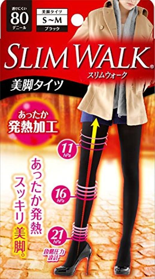 大腿送る閉じるスリムウォーク 美脚タイツ 80デニール S-Mサイズ ブラック