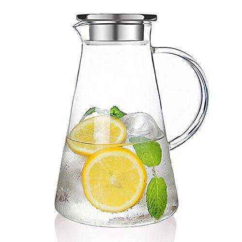 susteas 耐熱 ガラスポット 麦茶ポット 直火 対応 2.0リットル ステンレス蓋 麦茶 冷蔵庫 直火 水出し 茶ポット 冷水筒 ガラス ピッチャー 2000ml ステンレス茶こし付きジャグ