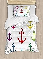アンカー羽毛布団カバーセット、Ambesonne、カラフルなアイコンで円形デザインNautical MaritimeテーマNavalヨット機器、装飾寝具セット枕のカバー、マルチカラー TWIN / TWIN XL nev_40437_twin