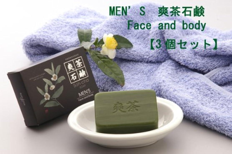 国旗おいしい買収MEN'S 爽茶石鹸 Face and body 3個セット(男性用デオドラントボディ+洗顔石鹸)