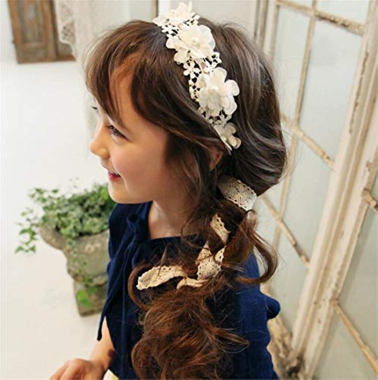 Tmrow 1個 可愛い ベビー用ヘアバンド  ヘアアクセサリー 髪飾り レース柄 リボン 出産祝い 結婚式 誕生日  子供髪飾り  ホワイト