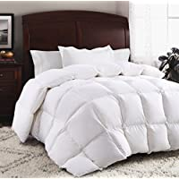 ROSECOSE Luxurious Goose Down Comforter King Size Duvet Insert All Seasons Solid White Hypo-allergenic 1200 Thread Count 750+ Fill Power 100% Cotton Shell Down Proof With Tabs (King, White) [並行輸入品]