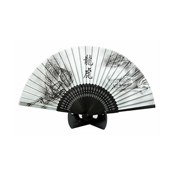 シルク扇子 龍虎 ブラック 504-711の商品画像