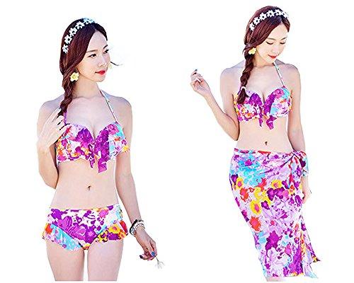 [キューティー・ハイ]QT-High花柄レディースビキニ水着パレオ付き3点セット体型カバービキニ紫Mサイズ