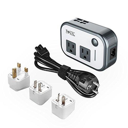 Foval 海外旅行用変圧器 コンセント 200W 90V~240V to 100V-110v USBポート4つ 国際旅行アダプタ 変換器 変圧 変換プラグ付き 軽量 簡単 世界対応