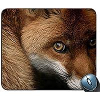 マウスパッド、赤い狐パーソナライズされた長方形マウスパッド、プリントされた滑りにくいゴム快適なカスタマイズされたコンピュータマウスパッド