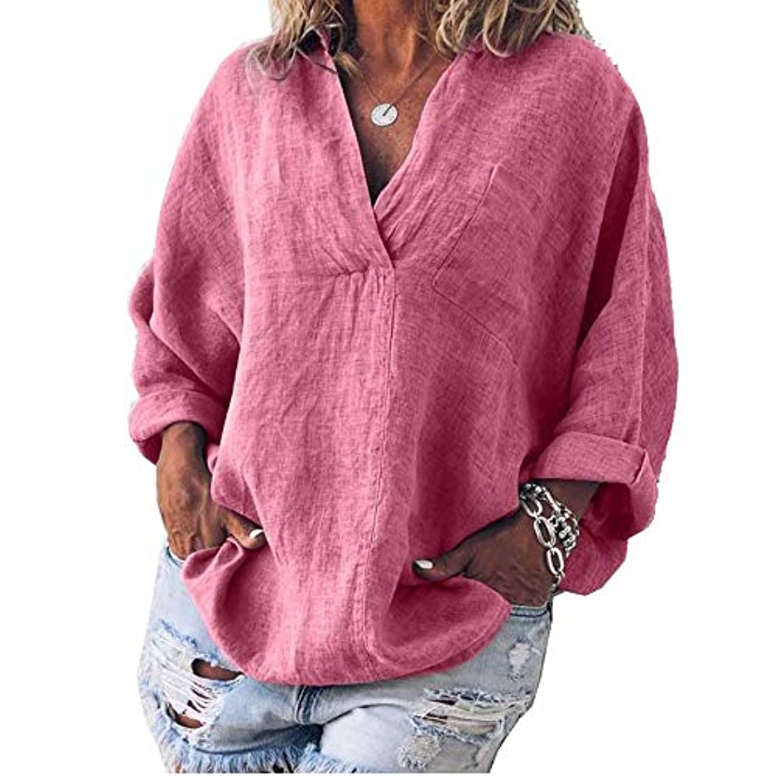 安心させる適用済み効果的MIFAN女性ファッション春夏チュニックトップス深いVネックTシャツ長袖プルオーバールーズリネンブラウス