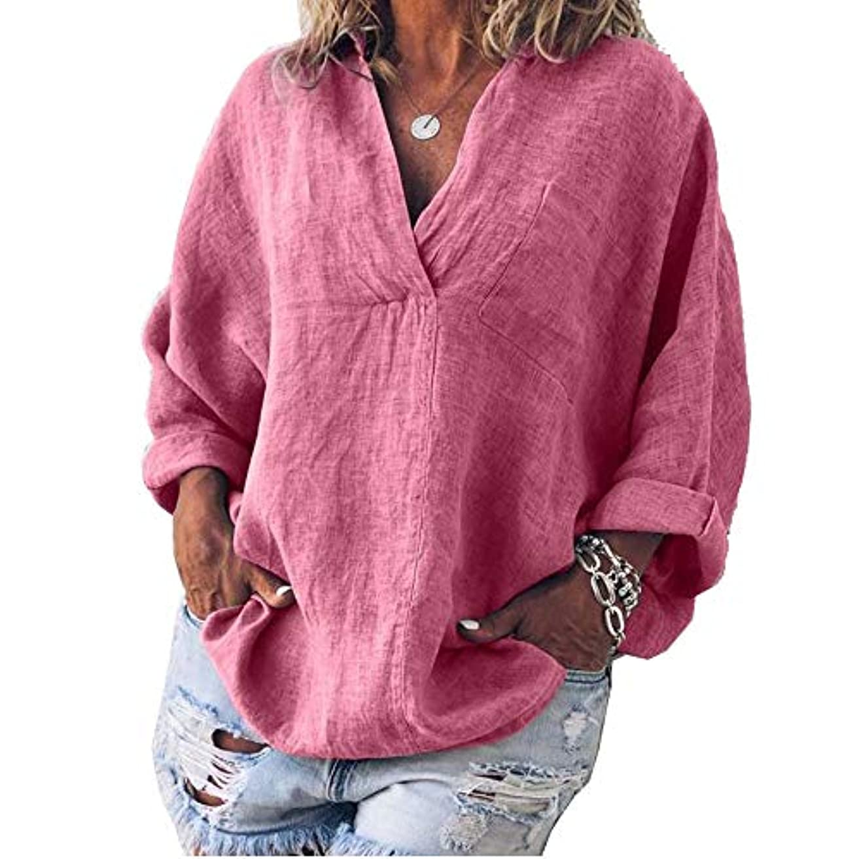 洗剤パイント配当MIFAN女性ファッション春夏チュニックトップス深いVネックTシャツ長袖プルオーバールーズリネンブラウス