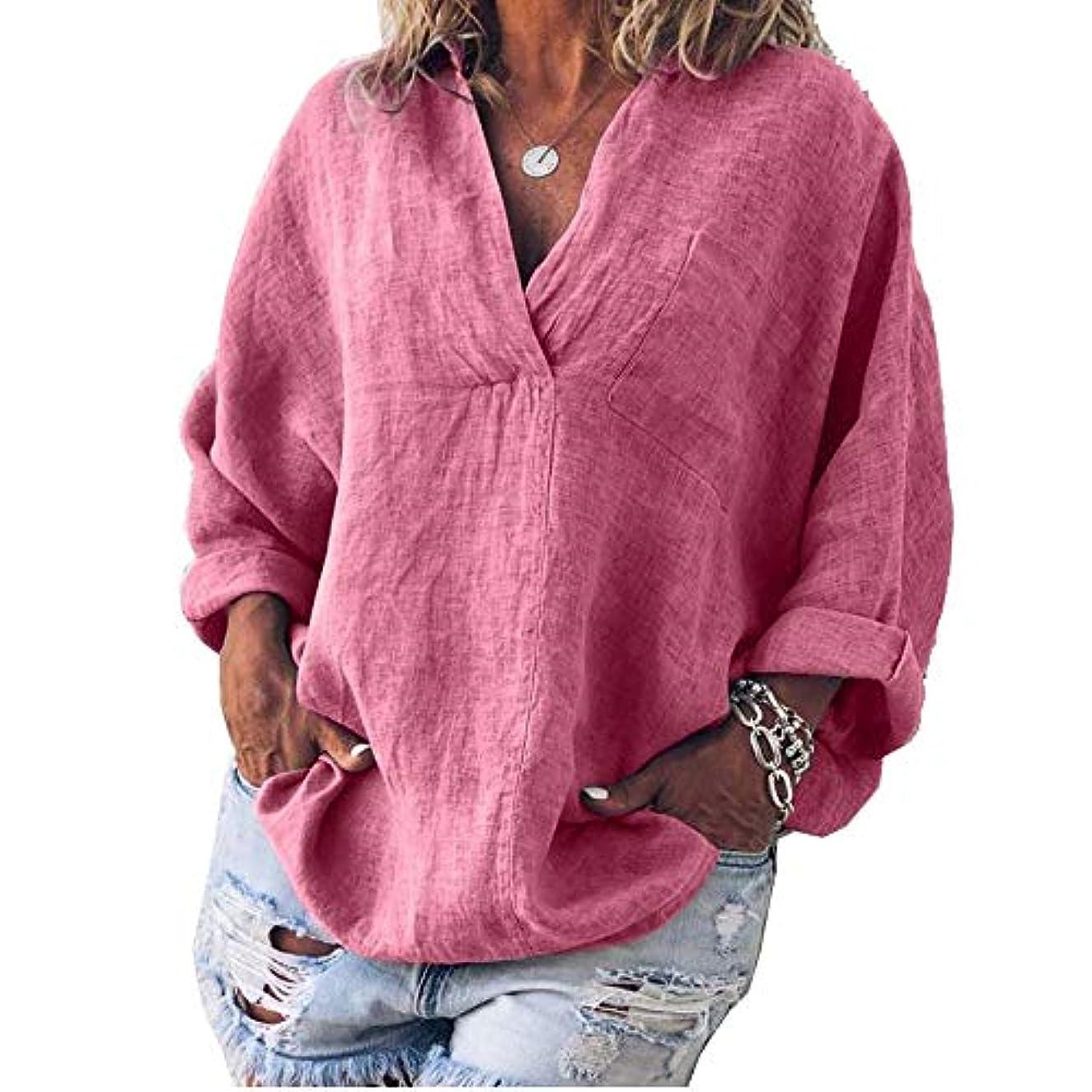 より良い労働漂流MIFAN女性ファッション春夏チュニックトップス深いVネックTシャツ長袖プルオーバールーズリネンブラウス