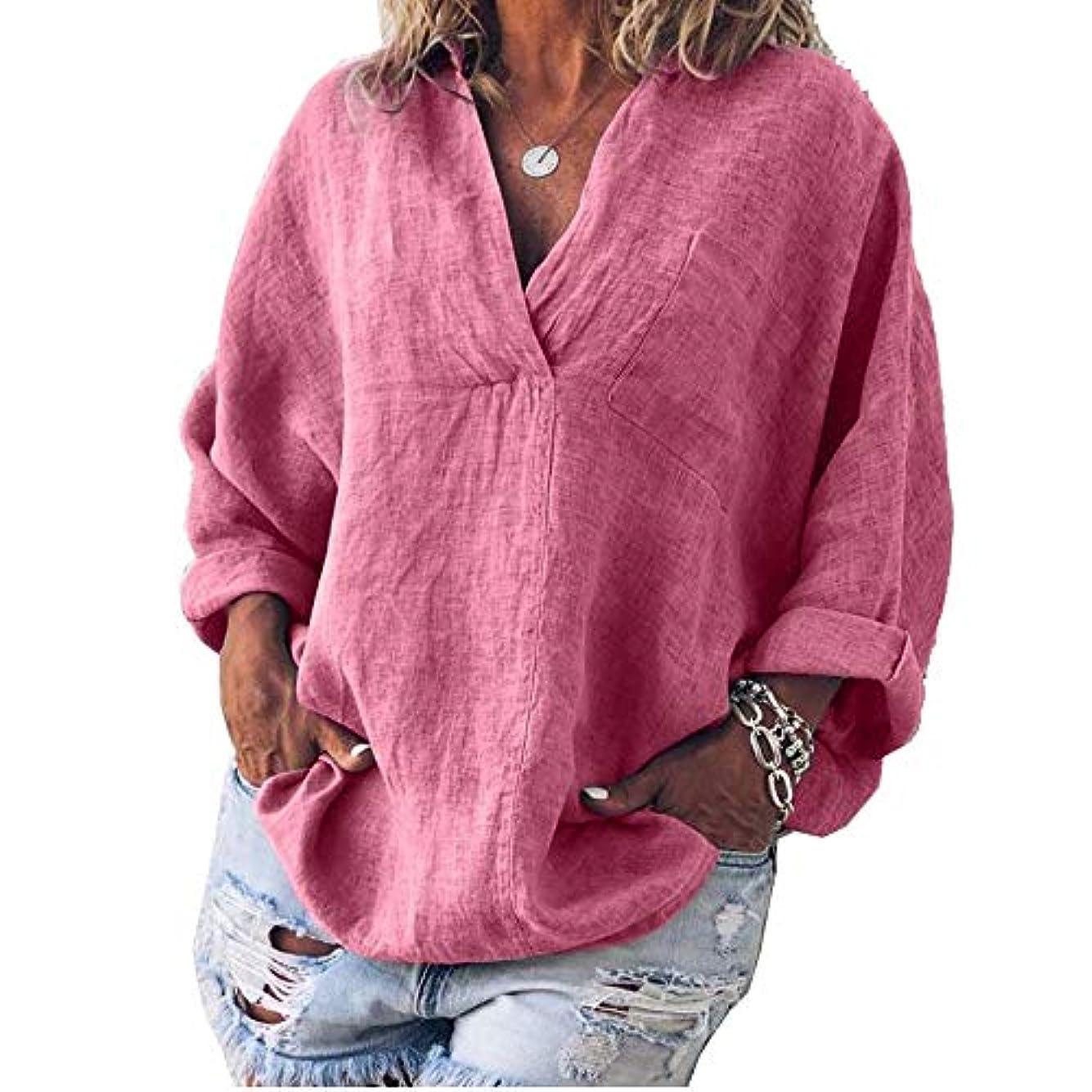 クリープ付与道MIFAN女性ファッション春夏チュニックトップス深いVネックTシャツ長袖プルオーバールーズリネンブラウス