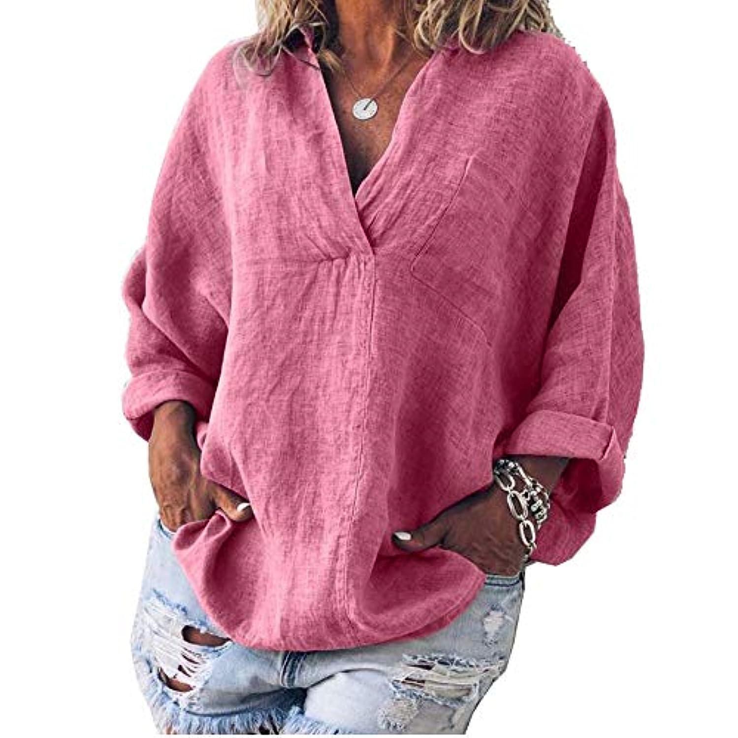 本質的に起きるレイMIFAN女性ファッション春夏チュニックトップス深いVネックTシャツ長袖プルオーバールーズリネンブラウス