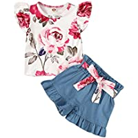 Happy Town Toddler Baby Girl Summer Clothes Floral Sunflower T-Shirt Fly Sleeve Denim Shorts Kids Baby Girl Summer Casual Sets