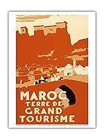 グランドツーリングのモロッコ土地 - ビンテージな世界旅行のポスター によって作成された ロバート・ジェニコット c.1940 - アートポスター - 23cm x 31cm