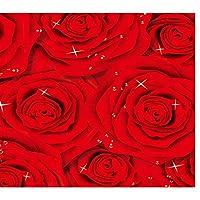 山笑の美 壁紙床壁画床の壁紙レッドローズファッション3D床カスタム写真自己接着-350X250CM