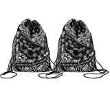 Rebecca Women Girls Drawstring Backpack Lightweight Travel Daypack Ethnic Style Gym Outdoor Backpack (Black) [並行輸入品]