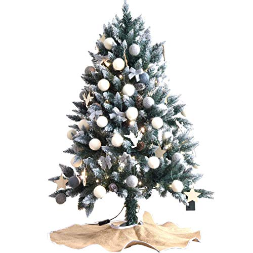 タンスのゲン クリスマスツリー 120cm 雪化粧 オーナメントセット イルミネーションライト付き 16900019 10 【64533】