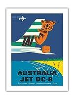 オーストラリア - TAI(国際航空運送) - ダグラスジェットDC-8 - コアラ - ビンテージな航空会社のポスター によって作成された セガン c.1960s -プレミアム290gsmジークレーアートプリント - 46cm x 61cm