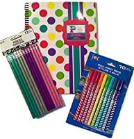 Writing Supplies; Stylish, Colourful For School or Homeschool: Spiral Notebook Multi-coloured Polka Dots (Personalise w/ A-Z Sticker Sheet), 10 Zig Zag Ball Point Pens, 12 Shimmery Pencils; 3-pc