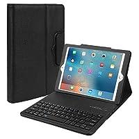 JOYNEW 最新版 iPad 9.7 キーボードカバー 2018/2017/Pro 9.7/Air/Air 2 通用ケース ペンを付き 高級PUレザー キーボードケース Bluetooth3.0対応 多角度調整 日本語説明書付着 脱着式 (ブラック)
