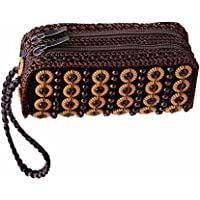 D DOLITY Lady Vintage Ethnic Woven Beads Wallet Clutch ID Card Holders Purse Long Handbag With Wristlet Brown