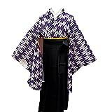 卒業式袴セット 女性レディース二尺袖着物無地袴セット 4サイズ5色/S(87cm) 黒