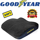 Goodyear Car Seat Cushion, Premium Grade Memory Foam, Ultra Soft Plush Cover, Fits Most Vehicles and Office Chairs, Designed for Maximum Comfort, Non-Slip Bottom, Removable Cover for Washing, Black