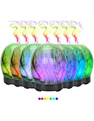 エッセンシャルオイル用ディフューザー (100ml)-3d アートガラスツイストツリーアロマ加湿器7色の変更 LED ライト & 4 タイマー設定、水なしオートシャットオフ