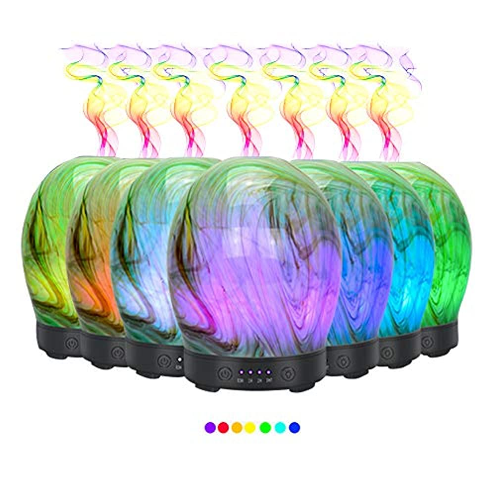 鉛仲間面エッセンシャルオイル用ディフューザー (100ml)-3d アートガラスツイストツリーアロマ加湿器7色の変更 LED ライト & 4 タイマー設定、水なしオートシャットオフ