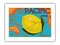 太平洋ブランド - ジョンストンフルーツ - 太平洋マップ - 柑橘類 - ビンテージなフルーツの木箱のラベル c.1917 - プレミアム290gsmジークレーアートプリント - 30.5cm x 41cm