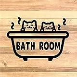【インテリア・DIY】猫二匹でバスルーム用ステッカーシール【お風呂場・浴槽】 (水色)